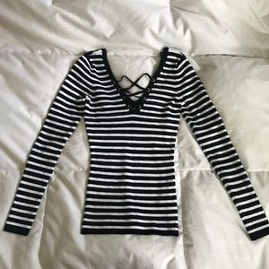 Guess black and white striped long sleeve shirt